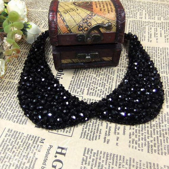 Vintage Black Beaded Peter Pan Collar Necklace Choker Collar